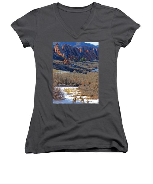 Deer At Roxborough Women's V-Neck (Athletic Fit)