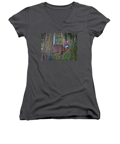 Deer In The Woods Women's V-Neck (Athletic Fit)