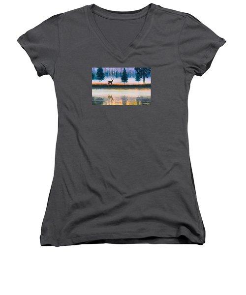 Deer Morning Women's V-Neck T-Shirt (Junior Cut) by Douglas Castleman