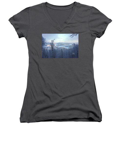 Deer Valley Winter View Women's V-Neck T-Shirt (Junior Cut) by Meta Gatschenberger