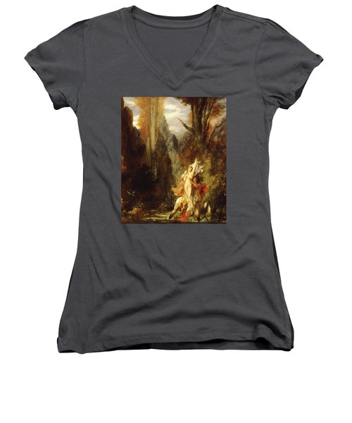 Dejanira  Autumn Women's V-Neck T-Shirt (Junior Cut) by Gustave Moreau