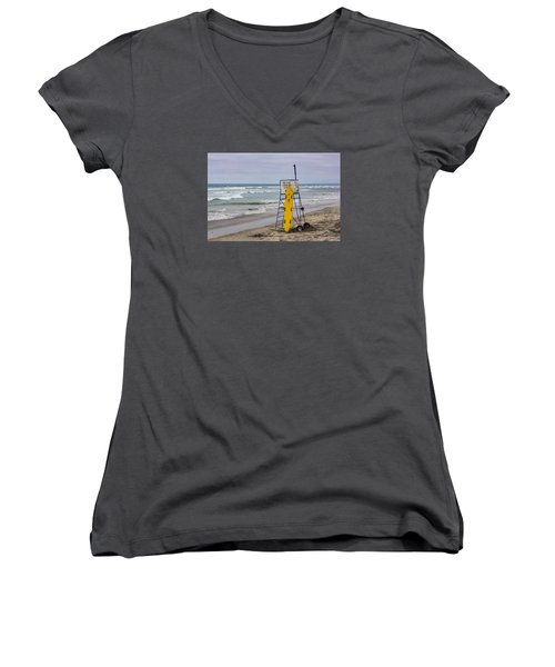 Del Mar Lifeguard Tower Women's V-Neck (Athletic Fit)