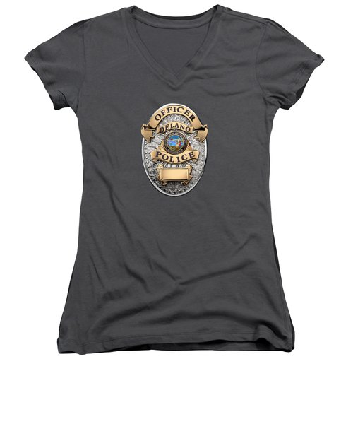 Women's V-Neck T-Shirt (Junior Cut) featuring the digital art Delano Police Department - Officer Badge Over Blue Velvet by Serge Averbukh