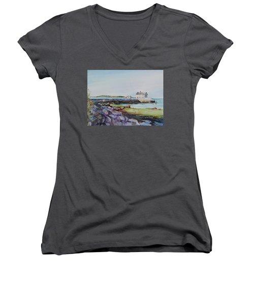 Delano's Wharf At Rock Nook Women's V-Neck T-Shirt (Junior Cut) by P Anthony Visco