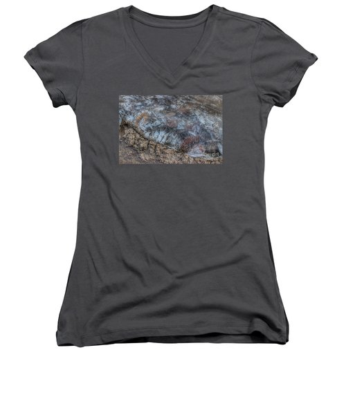Delaware River Ice With Leaves Women's V-Neck