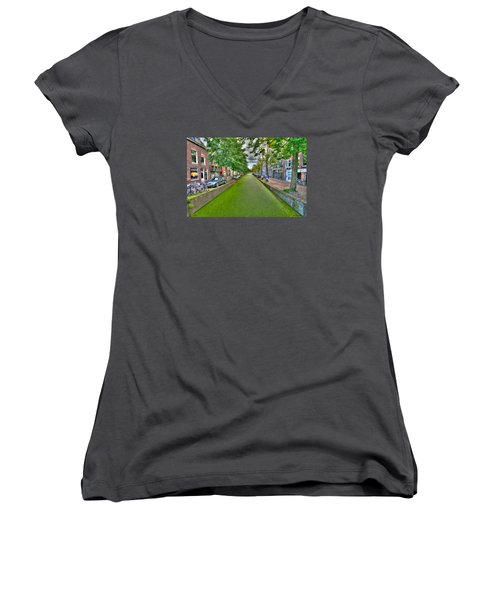 Women's V-Neck T-Shirt (Junior Cut) featuring the photograph Delft Canals by Uri Baruch