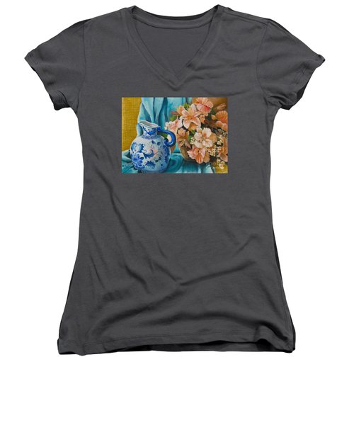 Women's V-Neck T-Shirt (Junior Cut) featuring the painting Delft Pitcher With Flowers by Marlene Book