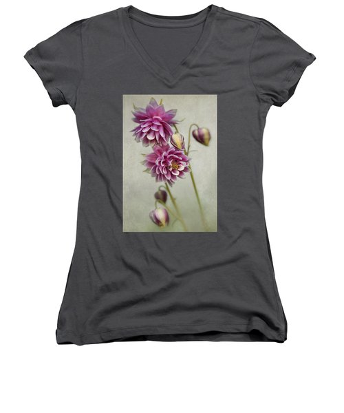 Delicate Pink Columbine Women's V-Neck (Athletic Fit)