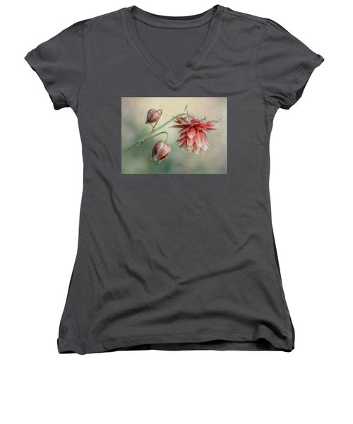 Delicate Red Columbine Women's V-Neck (Athletic Fit)