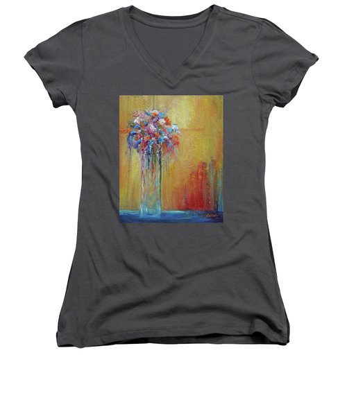 Delivered In Time Women's V-Neck T-Shirt (Junior Cut) by Roberta Rotunda