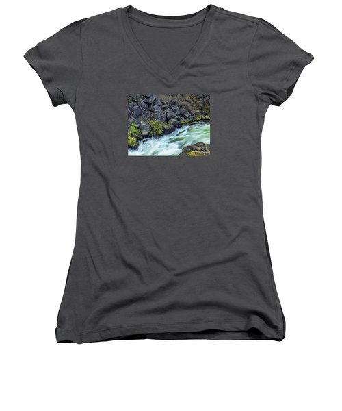 Deluge At The Falls Women's V-Neck T-Shirt (Junior Cut) by Nancy Marie Ricketts