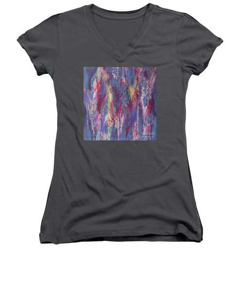Women's V-Neck T-Shirt (Junior Cut) featuring the painting Delve Deep 2 by Mini Arora