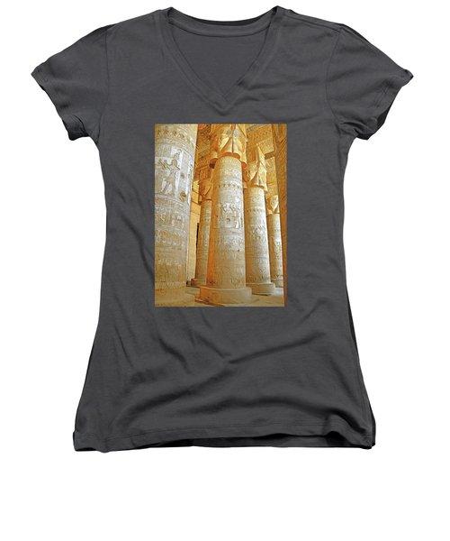 Dendera Temple Women's V-Neck T-Shirt (Junior Cut)
