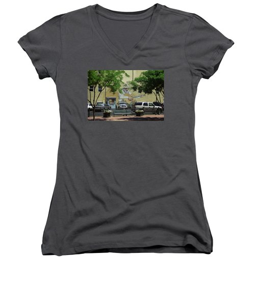 Women's V-Neck T-Shirt (Junior Cut) featuring the photograph Denver Cowboy Parking by Frank Romeo