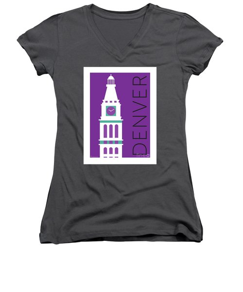 Denver D And F Tower/purple Women's V-Neck