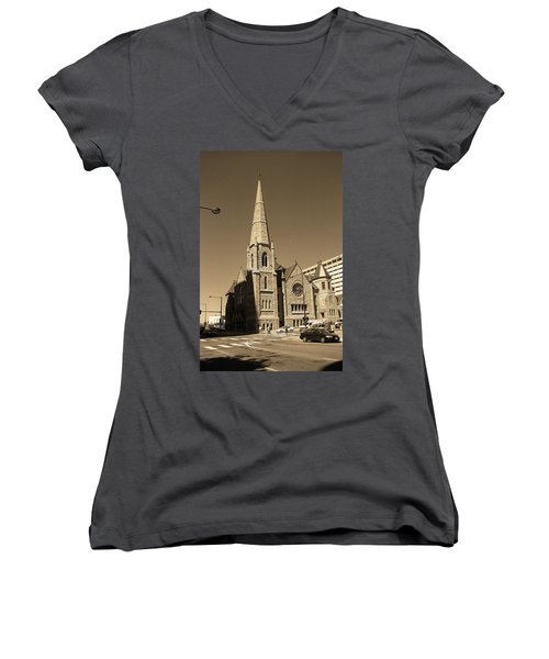 Women's V-Neck T-Shirt (Junior Cut) featuring the photograph Denver Downtown Church Sepia by Frank Romeo