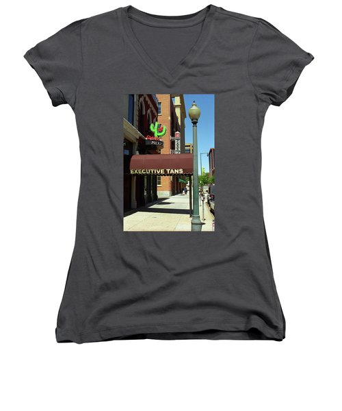 Women's V-Neck T-Shirt (Junior Cut) featuring the photograph Denver Downtown Storefront by Frank Romeo