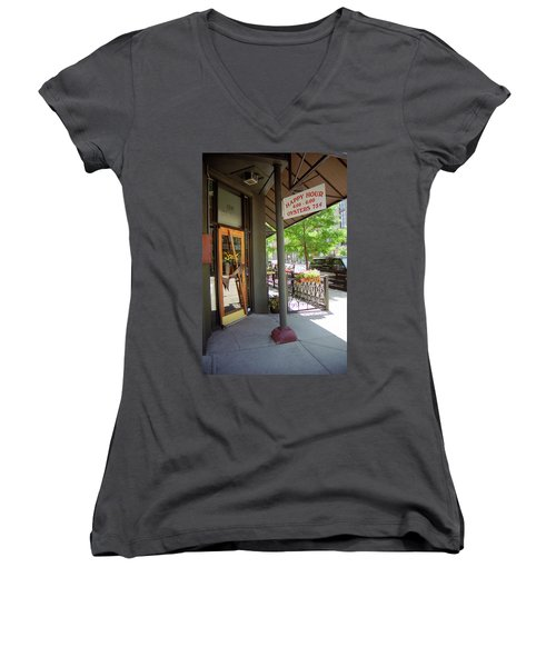 Women's V-Neck T-Shirt (Junior Cut) featuring the photograph Denver Happy Hour by Frank Romeo