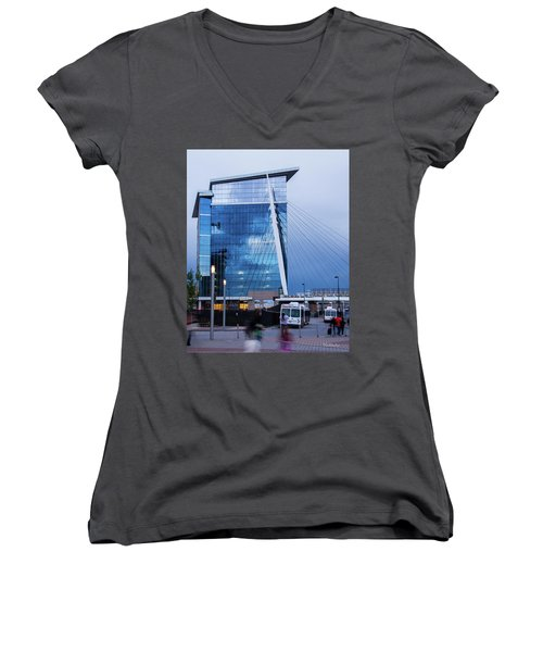 Denver Union Station And Milennium Bridge Women's V-Neck