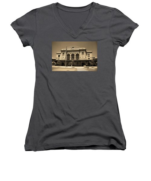 Women's V-Neck T-Shirt (Junior Cut) featuring the photograph Denver - Union Station Sepia 5 by Frank Romeo