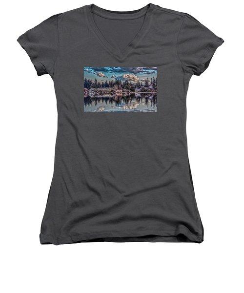 Women's V-Neck T-Shirt (Junior Cut) featuring the digital art Depot 8 by Timothy Latta
