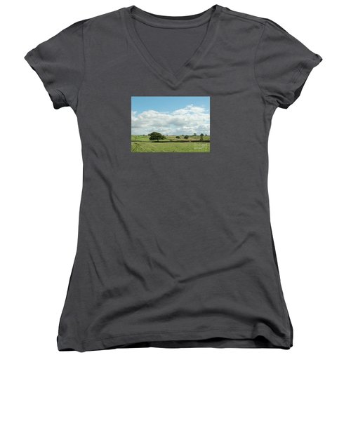 Derbyshire Landscape Women's V-Neck T-Shirt (Junior Cut) by Mini Arora