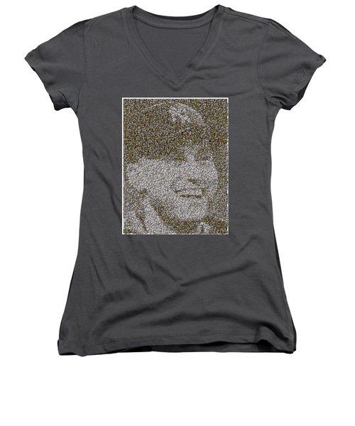 Women's V-Neck T-Shirt (Junior Cut) featuring the mixed media Derek Jeter Baseballs Mosaic by Paul Van Scott