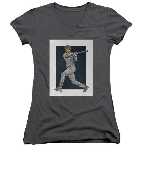 Derek Jeter New York Yankees Art 2 Women's V-Neck T-Shirt (Junior Cut) by Joe Hamilton