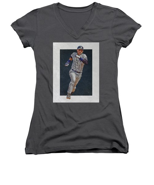 Derek Jeter New York Yankees Art 3 Women's V-Neck T-Shirt (Junior Cut) by Joe Hamilton