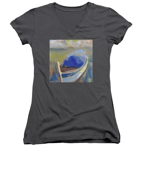 Derek's Boat. Women's V-Neck T-Shirt (Junior Cut) by Julie Todd-Cundiff