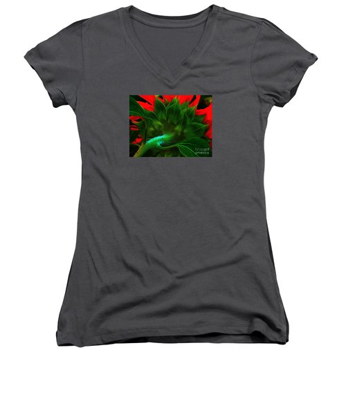 Women's V-Neck T-Shirt (Junior Cut) featuring the photograph Derriere by Elfriede Fulda