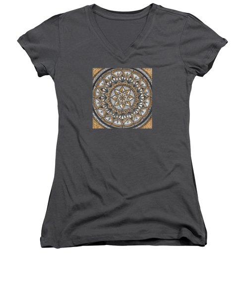 Women's V-Neck T-Shirt (Junior Cut) featuring the drawing Des Tapestry In Gold-grey-black by Kathy Sheeran