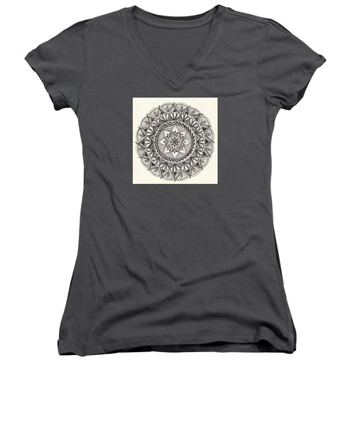 Women's V-Neck T-Shirt (Junior Cut) featuring the drawing Des Tapestry Medallion by Kathy Sheeran