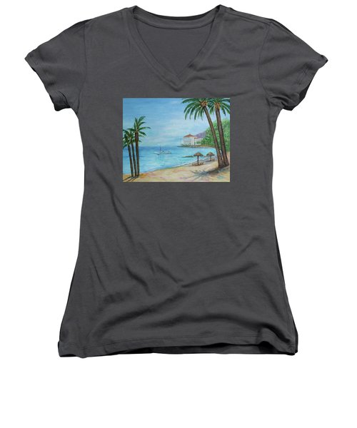 Descanso Beach, Catalina Women's V-Neck (Athletic Fit)