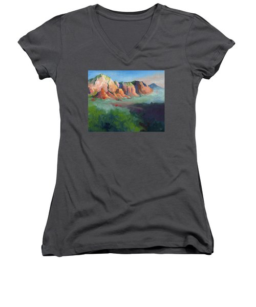 Desert Afternoon Mountains Sky And Trees Women's V-Neck T-Shirt
