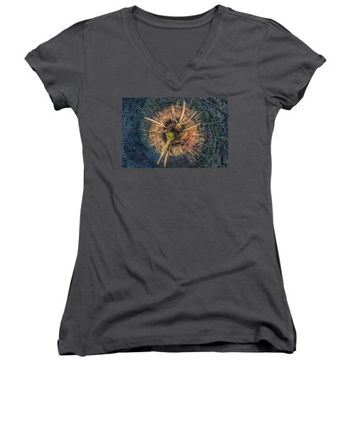 Desert Big Bang Women's V-Neck T-Shirt (Junior Cut)