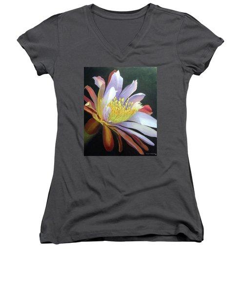 Desert Cactus Flower Women's V-Neck (Athletic Fit)
