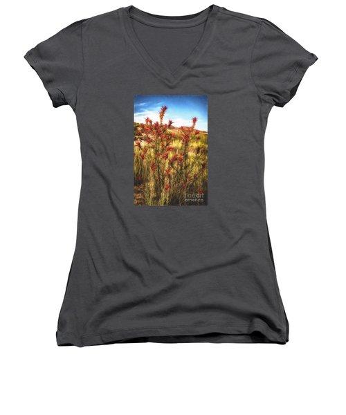 Desert Flora  ... Women's V-Neck T-Shirt (Junior Cut) by Chuck Caramella