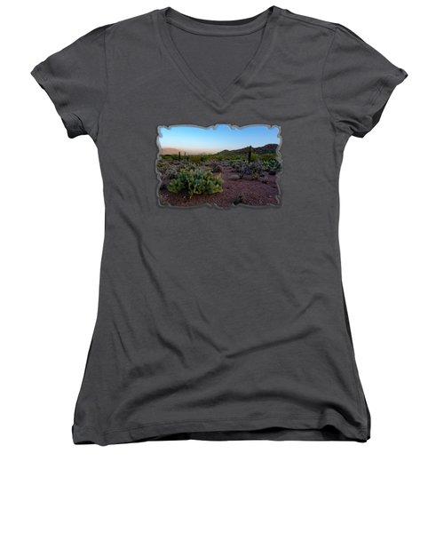 Desert Foothills H29 Women's V-Neck T-Shirt (Junior Cut) by Mark Myhaver