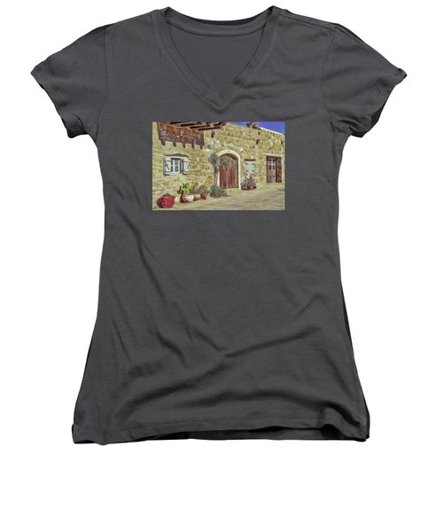 Women's V-Neck featuring the painting Desert House by Harry Warrick