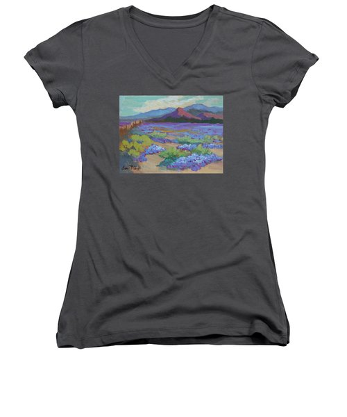 Women's V-Neck T-Shirt (Junior Cut) featuring the painting Desert In Bloom by Diane McClary