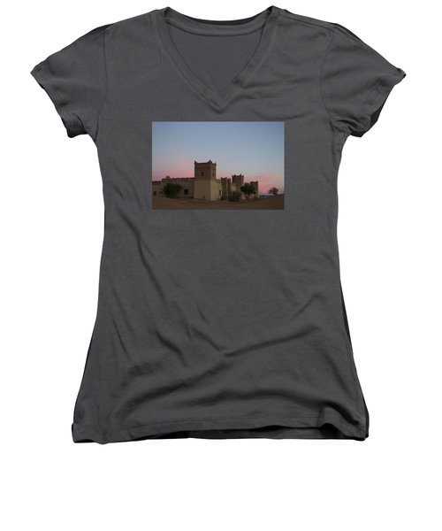 Women's V-Neck T-Shirt (Junior Cut) featuring the tapestry - textile Desert Kasbah Morocco by Kathy Adams Clark