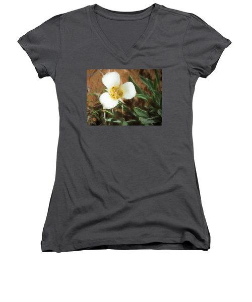 Desert Mariposa Lily Women's V-Neck T-Shirt (Junior Cut) by Penny Lisowski