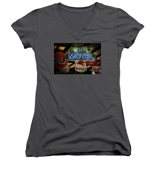 Desert Motel Women's V-Neck (Athletic Fit)