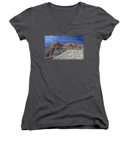 Women's V-Neck T-Shirt (Junior Cut) featuring the photograph Desert Pastels by Gary Kaylor