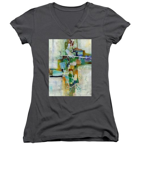 Desert Pueblo  Women's V-Neck T-Shirt (Junior Cut) by Hailey E Herrera