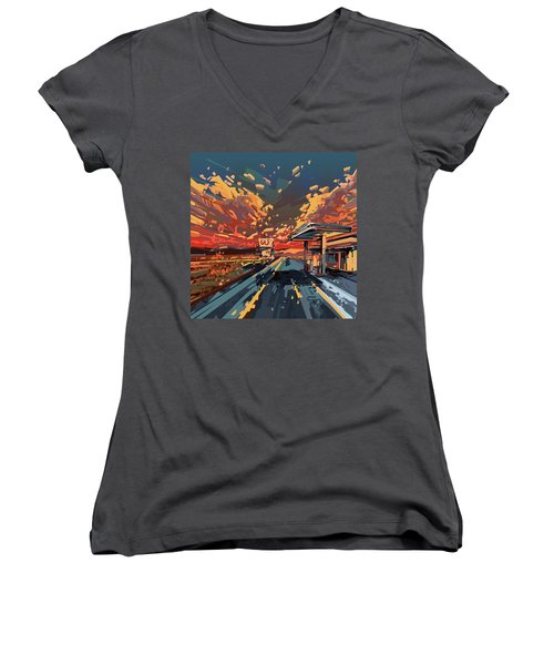 Desert Road Landscape 2 Women's V-Neck T-Shirt (Junior Cut) by Bekim Art