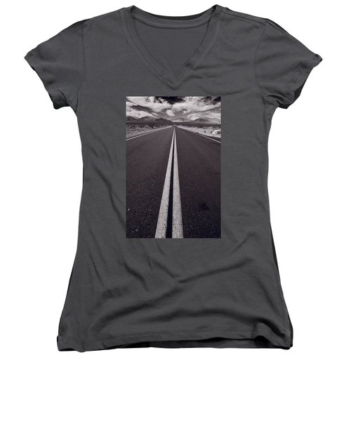 Desert Road Trip B W Women's V-Neck (Athletic Fit)