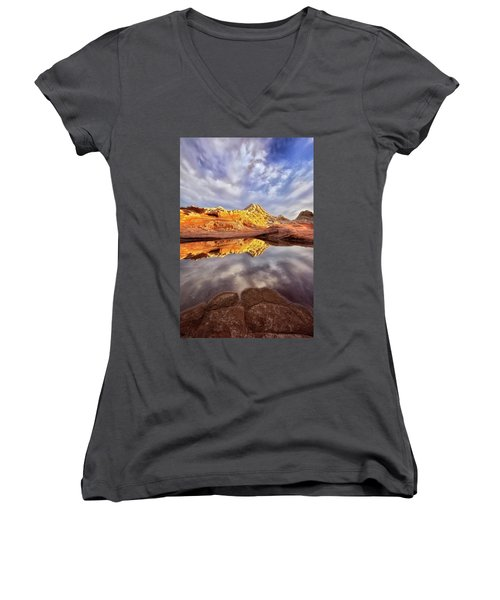 Desert Rock Drama Women's V-Neck T-Shirt (Junior Cut) by Nicki Frates