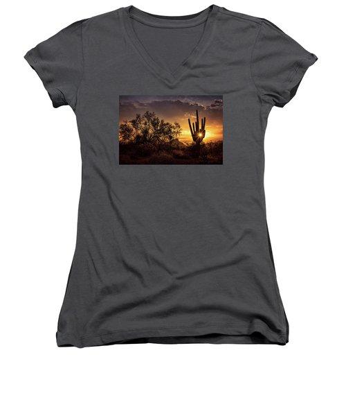 Women's V-Neck T-Shirt featuring the photograph Desert Skylight  by Saija Lehtonen